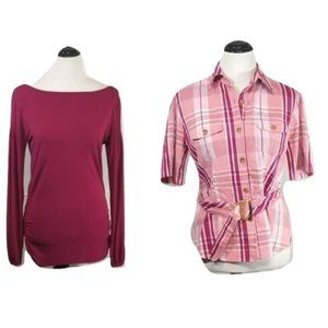 Worthington wine red & Jaclyn Smith pink plaid top